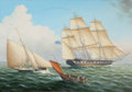 Maritime:Paintings, LEONARD JOHN PEARCE (British, b. 1932). British Coastal Scenewith a Frigate of the Blue Squadron, ca. 1850. Oil on canv...
