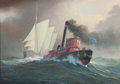 Maritime:Paintings, LEONARD JOHN PEARCE (British, b. 1932). Nearly Home. Oil oncanvas. 11 x 15-1/2 inches (27.9 x 39.4 cm). Signed lower le...