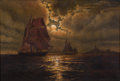 Maritime:Paintings, WESLEY ELBRIDGE WEBBER (American, 1841-1914). Untitled (ShipsSailing Under Moonlight). Oil on canvas. 18 x 26-1/4 inche...