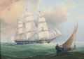 Maritime:Paintings, LEONARD JOHN PEARCE (British, b. 1932). Anglo-American EnochTrain Packet Ship, 1850. Oil on canvas. 11 x 15-1/2 inches ...