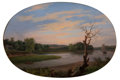 Maritime:Paintings, THOMAS BIRCH (American, 1779-1851). Sunset on the Water,1848. Oil on canvas. 17-3/4 x 25-1/2 inches (45.1 x 64.8 cm). S...