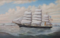 Maritime:Paintings, PERCY A. SANBORN (American, 1849-1929). Ship 'Emily McNear',Boston. Oil on canvas. 22 x 34 inches (55.9 x 86.4 cm). Sig...