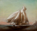 Maritime:Paintings, PETER LAYNE ARGUIMBAU (American, b. 1951). Westward Racing theBig Class. Oil on canvas. 30 x 36 inches (76.2 x 91.4 cm)...