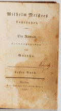 Books:Literature Pre-1900, Goethe. Wilhelm Meisters Lehrjahre. Vol. I. Ungar, 1795.First edition, first printing. Soiling. Binding reinfor...
