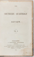 Books:Americana & American History, The Southern Quarterly Review. Vol. X. July-Dec. 1854. Firstedition, first printing. Foxing and staining. Hinges cr...