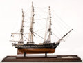 Maritime:Decorative Art, VINTAGE SAILOR'S MODEL OF THE FRIGATE 'CONSTITUTION'. Named byPresident George Washington after the Constitution of the Uni...