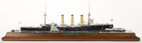 SCALE MODEL DIORAMA OF 'AUGUST RESPITE' The stately luxury liner floats in a moment of calm on the sea. Modeled b