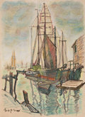 Fine Art - Work on Paper:Print, EMILE ALBERT GRUPPE (American, 1896-1978). Boats in the Harbor, 20th century. Hand-colored lithograph. 14 x 10 inches (3...