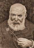 """Fine Art - Work on Paper:Print, HANS THOMA (German, 1839-1924). Self-Portrait with a Flower at age 80, 1919, and revised in the plate with """"21"""". Etching..."""