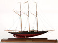 Maritime:Decorative Art, SCALE MODEL OF SCHOONER YACHT 'ATLANTIC'. American Marine and ShipModel Gallery, Salem MA. The three-masted topsail schoon...