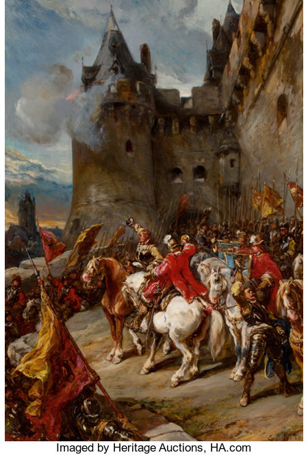 EUGÈNE ISABEY (French, 1803-1886) Defending the Chateâu, 1868 Oil on wood panel 33 x 22-3/4 inches (83.8 x 57.8 cm) ...
