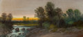 Fine Art - Work on Paper:Drawing, LOVELL (American, 20th Century). Sunset Over the Stream.Pastel on board. 10 x 22 inches (25.4 x 55.9 cm). Signed lower ...