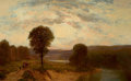 Fine Art - Painting, American, AMERICAN SCHOOL (19th Century). Sunset Over the Hillside.Oil on canvas. 17 x 27-1/2 inches (43.2 x 69.9 cm). ...