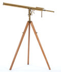 Paintings, VICTORIAN SHIP'S TELESCOPE BY DOLLOND. Brass, ship's telescope on tripod base by Dollond. 68 inches in height (172.7 cm). ...