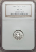 Modern Bullion Coins, 2005 $10 Tenth-Ounce Platinum Eagle MS70 NGC. NGC Census: (0). PCGSPopulation (30). (#21108)...