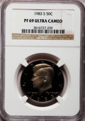 Proof Kennedy Half Dollars: , 1983-S 50C PR69 Ultra Cameo NGC NGC Census: (903/87). PCGSPopulation (4261/207). Numismedia Wsl. Price for problem free N...