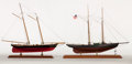Maritime:Decorative Art, 'AMERICA I' AND 'WE'RE HERE' SHIP MODELS. Offered as a pair..Presented on separate wood bases.. America I: 19-1/2 x 22 inch...(Total: 2 Items)