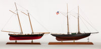 'AMERICA I' AND 'WE'RE HERE' SHIP MODELS Offered as a pair. Presented on separate wood bases. America I: 19-