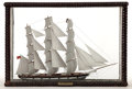 Maritime:Decorative Art, VINTAGE SAILOR'S MODEL OF A BRITISH WINDJAMMER. With unique woodensails, built circa 1890.. Presented in original wood and ...