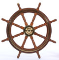 Maritime:Decorative Art, VINTAGE BRASS AND OAK SHIP'S WHEEL . The symbol of all thingsnautical.. Diameter: 42 inches (106.7 cm). ...