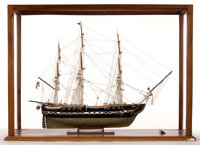 SHIP MODEL OF THE USS 'CONSTITUTION' A fine model, fully rigged and presented in wood and Plexiglas case. 32 x