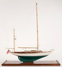 SAILBOAT MODEL OF 'WHITE LIGHT' Presented on wood base. 43 x 40 x 16 inches (109.2 x 101.6 x 40.6 cm)