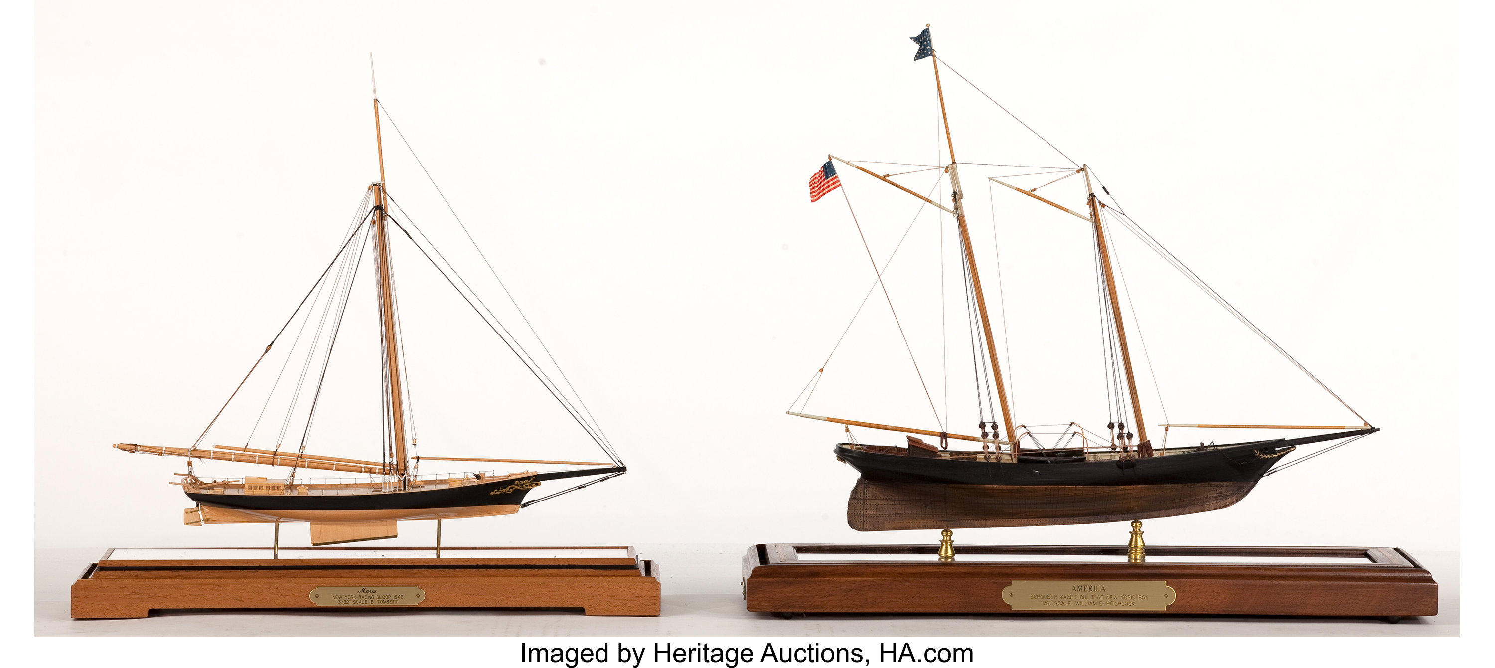 TWO SCALE MODELS OF THE RACING YACHTS 'MARIA' AND 'AMERICA'  The