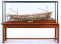 Maritime:Decorative Art, SCALE MODEL OF TRADITIONAL SHIPWRIGHT CONSTRUCTION. Depictingshipwright construction of the first four-masted schooner, bui...