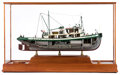 Maritime:Decorative Art, MODEL OF THE TUGBOAT 'CHRISTINE FOSS'. A cut-away hull ship modelof the miki-miki type army tugboat 'Chrsitina Foss'. She i...