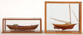 Maritime:Decorative Art, TWO SMALL MODELS OF FISHING VESSELS. A lobster smack and a GrandBanks Dory.. Presented in separate wood and glass cases.. S...(Total: 2 Items)