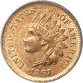 Indian Cents, 1867/67 1C Repunched Date MS64 Red PCGS. CAC. Snow-1, FS-301....