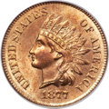 Indian Cents, 1877 1C MS65 Red and Brown PCGS. CAC....