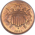 Two Cent Pieces, 1864 2C Small Motto MS64 Red and Brown PCGS. CAC. FS-401....