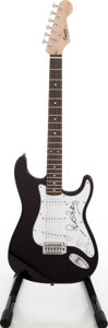 Musical Instruments:Electric Guitars, 2008 Fender Squire Stratocaster Black Solid Body Electric Guitar,Serial # COB 080846908....