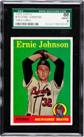 Baseball Cards:Singles (1950-1959), 1958 Topps Ernie Johnson, Yellow Letters #78 SGC 88 NM/MT 8 - TheFinest SGC Example! ...