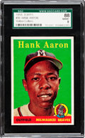 Baseball Cards:Singles (1950-1959), 1958 Topps Hank Aaron, Yellow Letters #30 SGC 88 NM/MT 8....