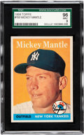 Baseball Cards:Singles (1950-1959), 1958 Topps Mickey Mantle #150 SGC 96 Mint 9 - The One and Only 96Mint 9 Known! ...