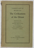 Books:Reference & Bibliography, [Books About Books]. W. A. C. H. Dobson [editor]. A Select Listof Books on the Civilizations of the Orient. Clarend...
