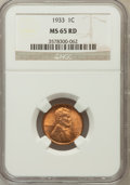 Lincoln Cents: , 1933 1C MS65 Red NGC. NGC Census: (344/438). PCGS Population(450/313). Mintage: 14,360,000. Numismedia Wsl. Price for prob...