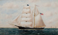Maritime:Paintings, SOLON FRANCIS MONTECELLO BADGER (American, 1873-1919). The'Sullivan', 1895. Oil on canvas. 22 x 36 inches (55.9 x 91.4...