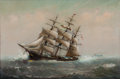 Maritime:Paintings, MARSHALL JOHNSON JR. (American, 1850-1921). Ship Painting.Oil on canvas. 20 x 30 inches (50.8 x 76.2 cm). Signed lower ...