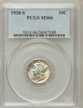 Mercury Dimes: , 1938-S 10C MS66 PCGS. PCGS Population (188/34). NGC Census:(162/61). Mintage: 8,090,000. Numismedia Wsl. Price for problem...