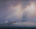 Maritime:Paintings, TIMOTHY H. THOMPSON (American, b. 1951). The Truce Boat. Oilon canvas. 16 x 20 inches (40.6 x 50.8 cm). Signed lower le...