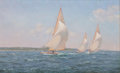 Maritime:Paintings, RICHARD K. LOUD (American, b. 1942). Stretching the Lead, 8Meter Racing, 1930s. Oil on canvas. 26 x 42 inches (66.0 x 1...