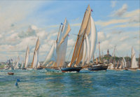 ANTHONY BLAKE (American, b. 1951) Sailing Along the Coastline Oil on canvas 27-1/2 x 40 inches (6