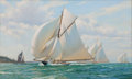 Paintings, ANTHONY BLAKE (American, b. 1951). 'Britannia' Leading the Fleet Up the Solent. Oil on canvas. 24 x 40 inches (61.0 x 10...
