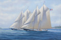 Maritime:Paintings, J. FRANKLIN WRIGHT (Canadian, 20th Century). GloucesterSchooners 'Columbia' & 'Henry Ford', 1999. Oil on canvas.24 x 3...