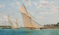 American:Marine, ANTHONY BLAKE (American, b. 1951). 'Britannia' Off Coves in1893. Oil on canvas. 24 x 40 inches (61.0 x 101.6 cm). Signe...