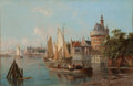 Maritime:Paintings, WILLIAM R. DOMMERSEN (Dutch, 1850-1927). A Dutch HarborScene. Oil on canvas. 16 x 24 inches (40.6 x 61.0 cm). Signedlo...