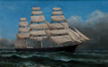 Maritime:Paintings, XANTHUS SMITH (American, 1839-1929). Clipper Ship in FullSail. Oil on canvas. 14 x 22 inches (35.6 x 55.9 cm). Signedl...